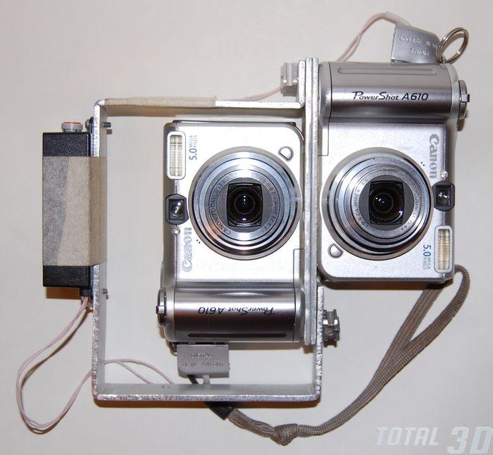 спарка из двух фотоаппаратов Canon PowerShot A610 с идеально синхронизированными по USB затворами