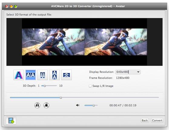 Работа с AVCWare 2D to 3D Converter