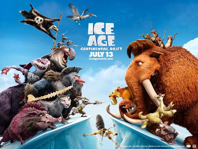 Постеры к 3D-фильму «Ледниковый период 4: Континентальный дрейф» (Ice Age: Continental Drift)