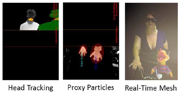 При создании прокси-частиц, компьютер разделяет поверхность стола с данными о глубине сцены на отдельные сегменты