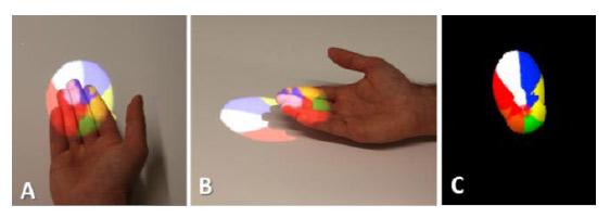 виртуальный мячик корректно отображается в руке пользователя, несмотря на то, что проецируется на несколько различных поверхностей одновременно (рука и стол)