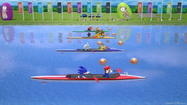 Обзор игр для Nintendo 3DS: Mario & Sonic at the London 2012 Olympic Games Заплыв на байдарках