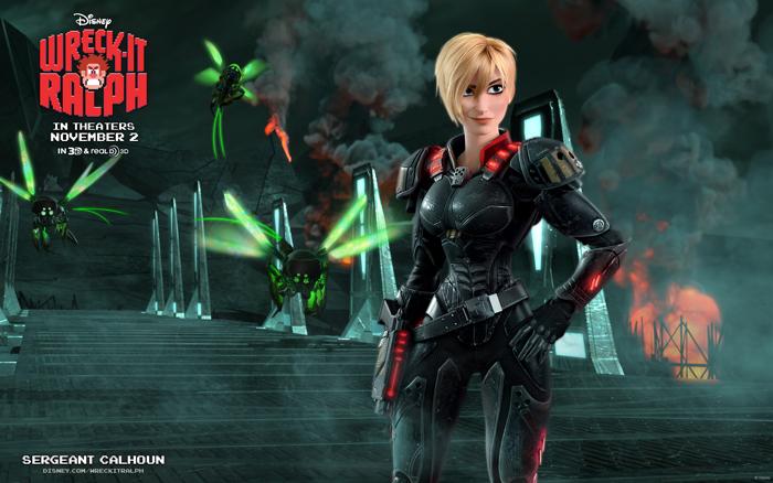 Главный герой 3D-картины «Ральф -разрушитель» встречает во время своего путешествия Сержанта Калхун из игры Hero's Duty
