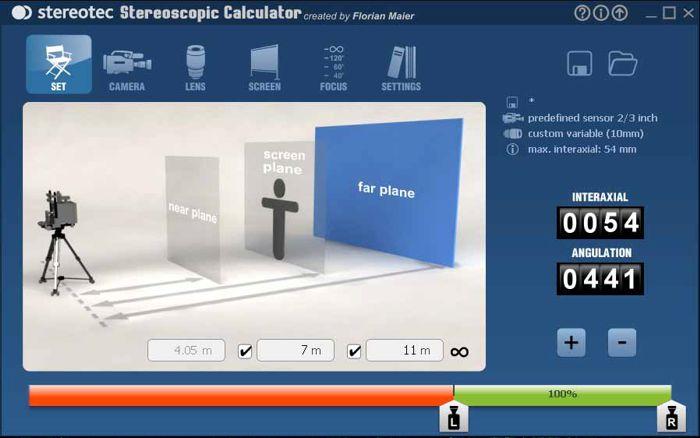 Интерфейс калькулятора Stereoscopic Calculator