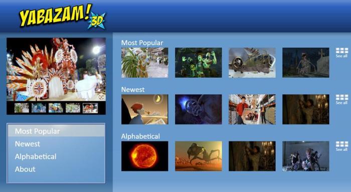 Контент-сервис Yabazam: больше миллиона 3D-трейлеров для вашего ТВ!