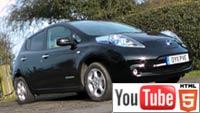 Электромобиль Nissan LEAF в трёхмерном обзоре на YouTube 3D