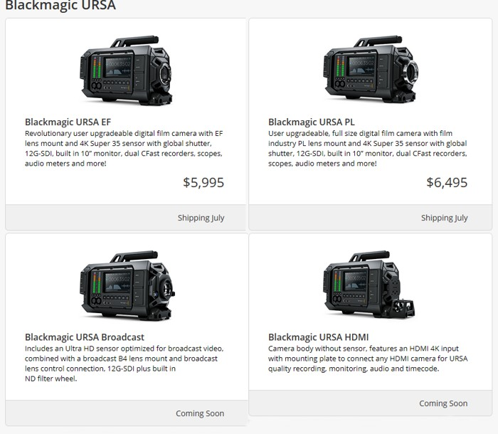 Варианты Blackmagic URSA