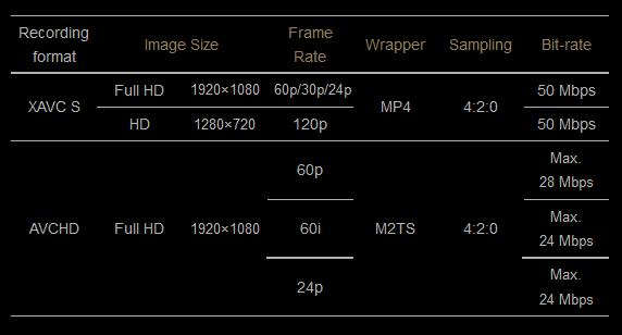 Sony A7S: форматы записи видео