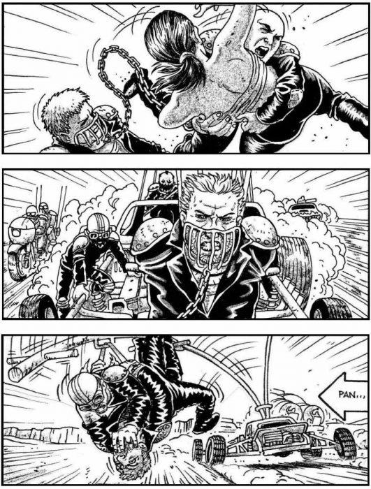 Безумный Макс: Дорога ярости 3D (Mad Max: Fury Road): эскиз раскадровки сценариста Брендана МакКарти (Brendan McCarthy)