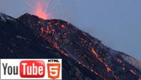 Извержение вулкана на острове Стромболи в стерео 3D