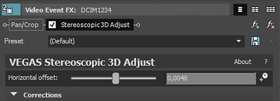 Stereoscopic 3D Adjust в Vegas Pro 15