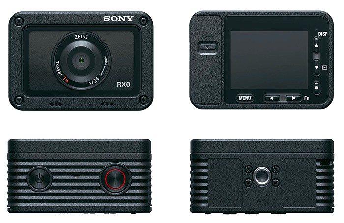 При необходимости синхронизации более пяти камер в системе (съемка концертов, каскадерских трюков и пр.) можно использовать Wi-Fi маршрутизатор.  Еще один существенный плюс новинки: как и все профессиональные камеры,Sony RX0 не имеет 30-минутного ограничения по записи видео.    Камера оснащена 1-дюймовым 15,3-Мп «слоеным» BSI CMOS сенсором Exmor RS III поколения, для которого характерен минимум артефактов роллинг-шаттера, и процессором BIONZ X. Новинка способна выдавать на HDMI-выходе 4K-видео с сэмплированием 4:2:2, записывать на флш-карты видео в разрешении 1080p60 с кодеком XAVC (50 Мбит/с) и обеспечивать 40x замедление в режиме HD (Super Slow Motion).